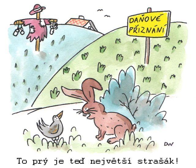 Kreslené vtipy daňové přiznání